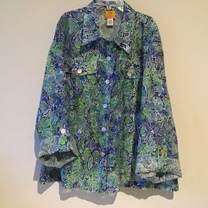 Top 24W Blue Green Floral NWOT Ruby Rd Woman